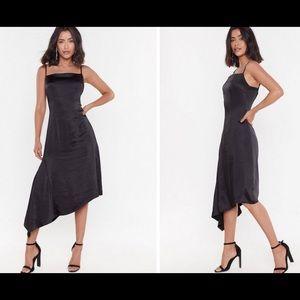 Nasty Gal Satin Asymmetric midi dress size 6